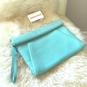 Zara Tiffany blue color leather clutch
